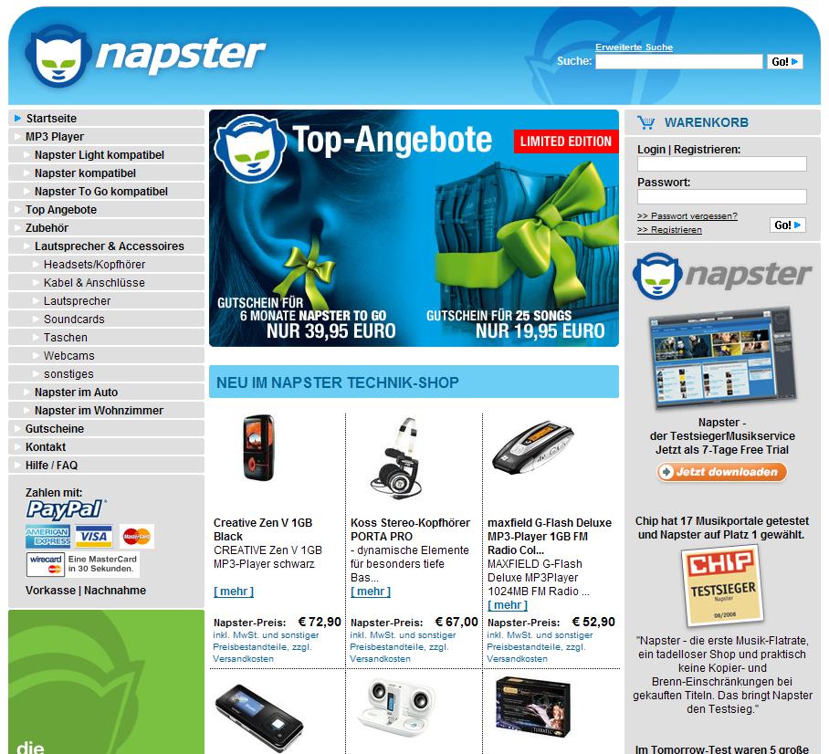 napster online shop