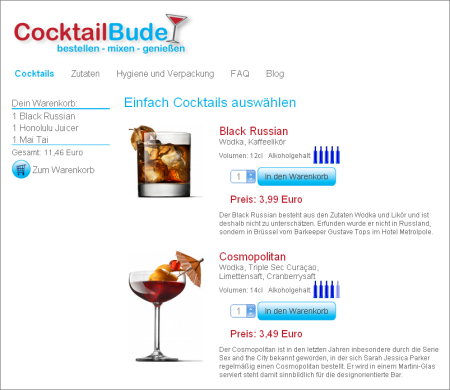 CocktailBude.de Screenshot