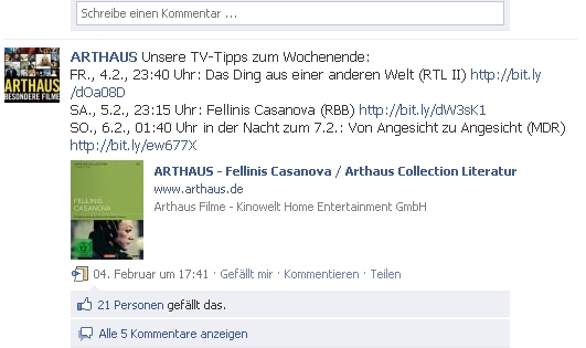 arthaus fanpage facebook