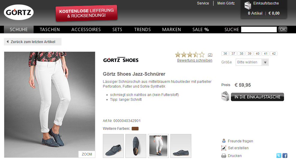 Goertz Online Shop Screenshot