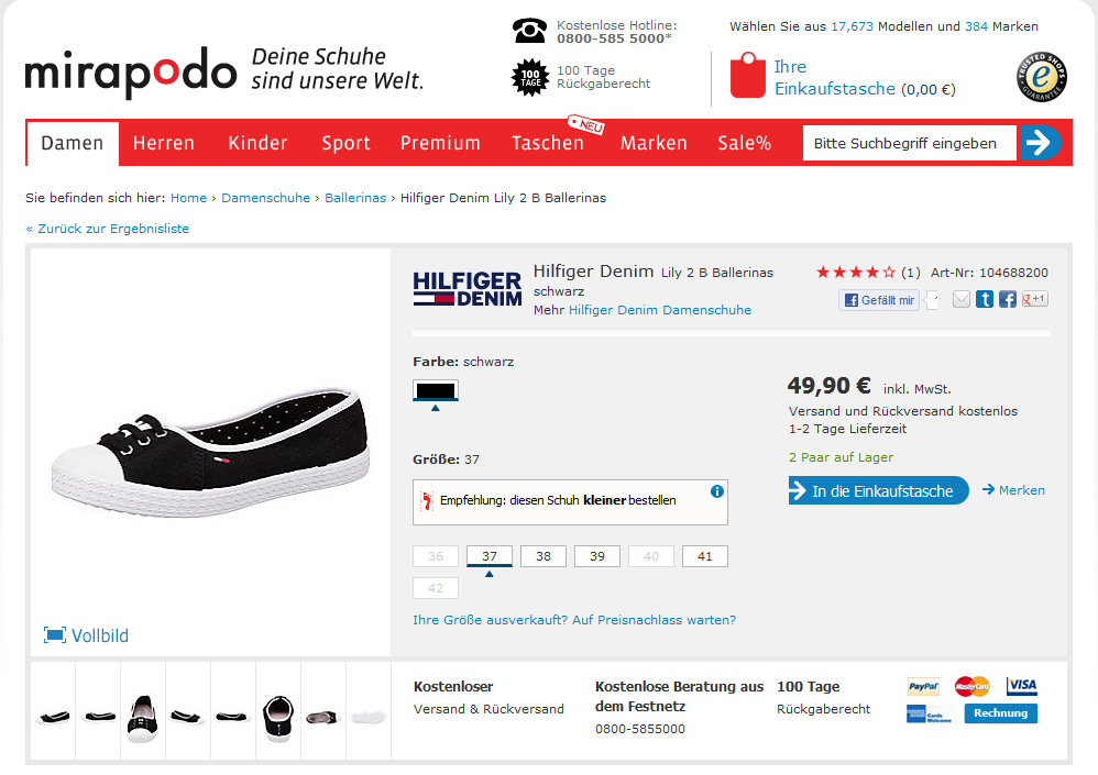 Mirapodo Online Shop Screenshot