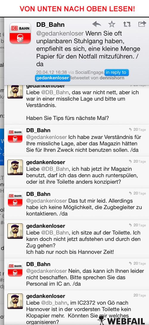 Screenshot vom Deutsche Bahn Twitter Account