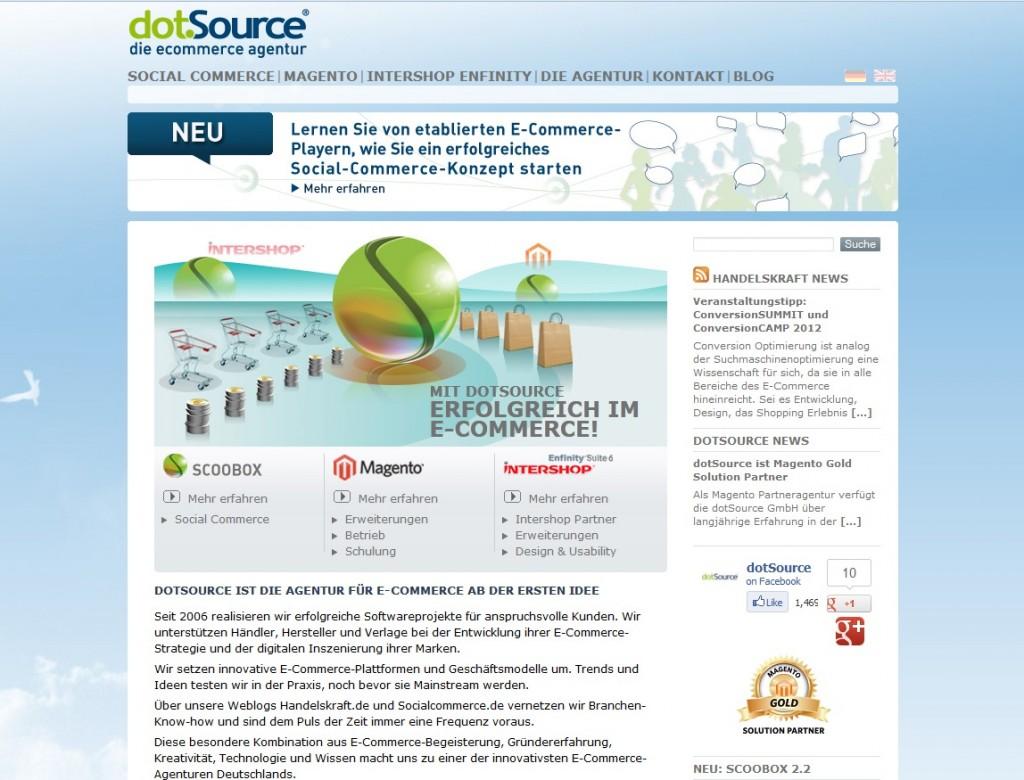 Webseite der dotSource GmbH vor dem Relaunch