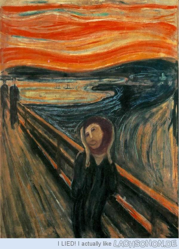 Gesicht des Ecce Homo Freskos auf Munchs Der Schrei