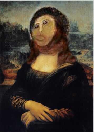 Mona Lisa Meme mit Ecce Homo Gesicht