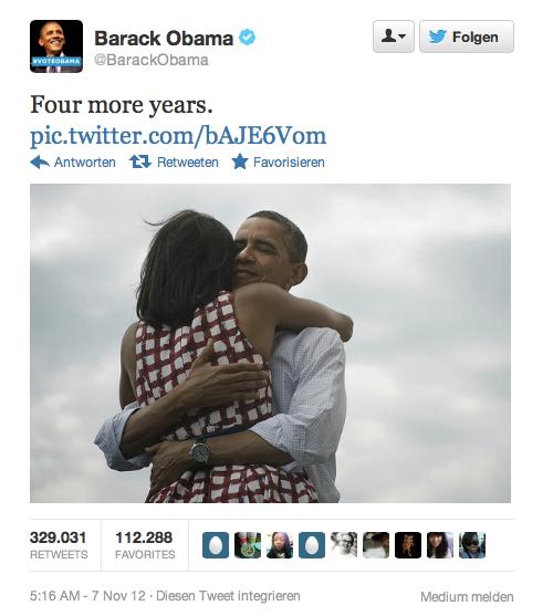 Obamas Tweet nach der gewonnenen Widerwahl