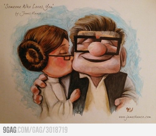 Leia und Han Solo als Figuren von Pixars Film UP