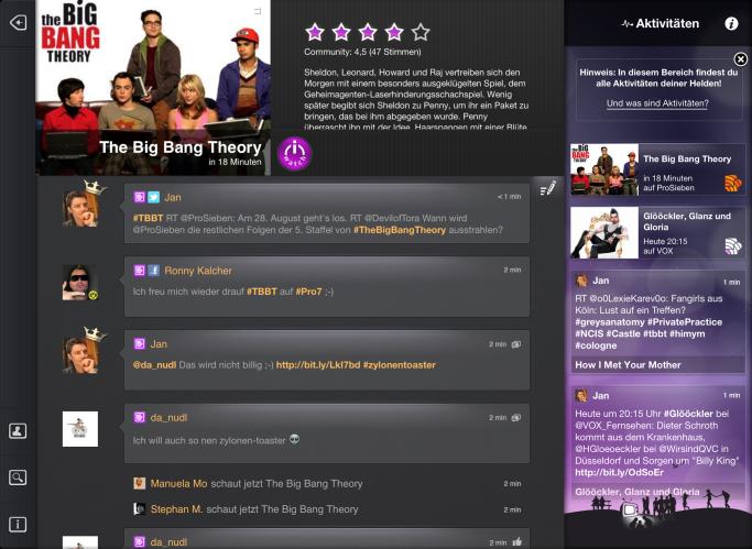 Couchfunk auf dem iPad - Screenshot