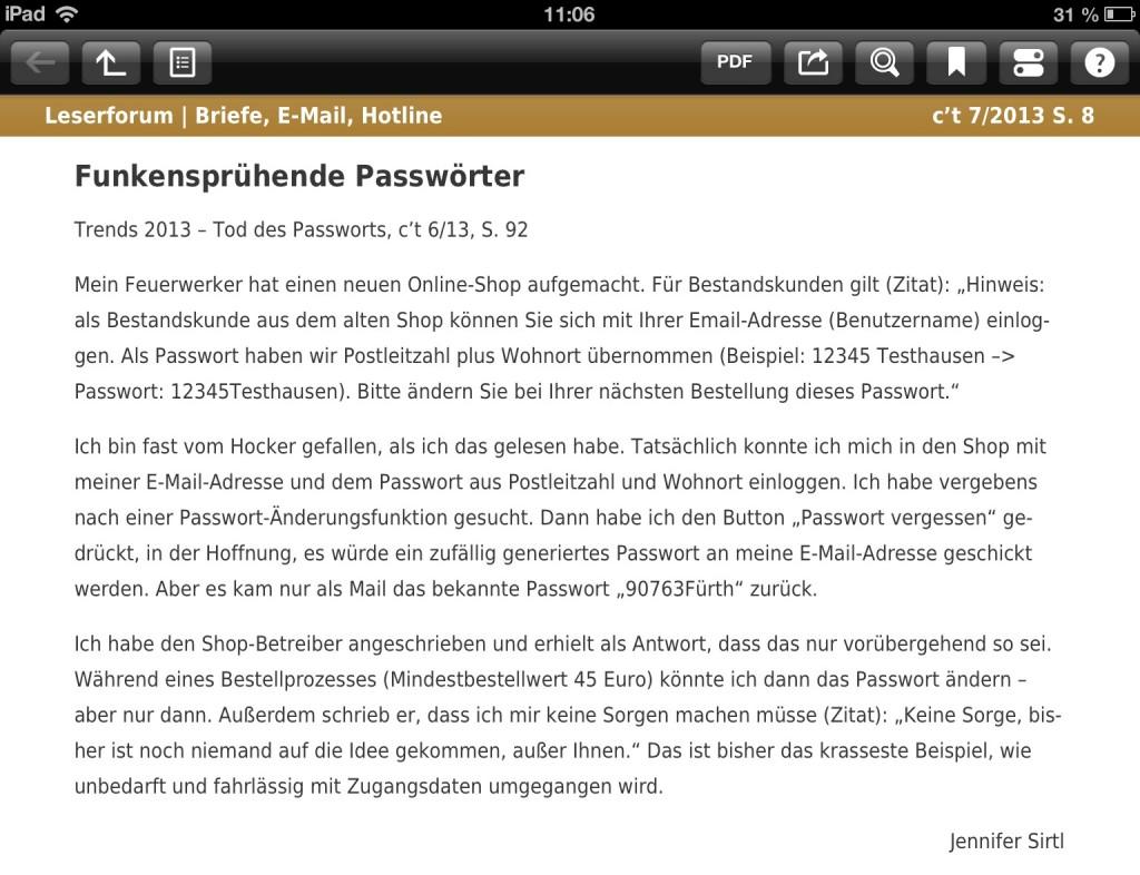 Passwort-Sicherheit in Onlineshop - Fail!