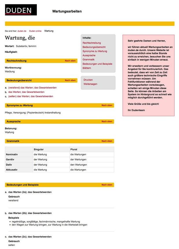 Netzfund: Die Wartungsseite von Duden.de