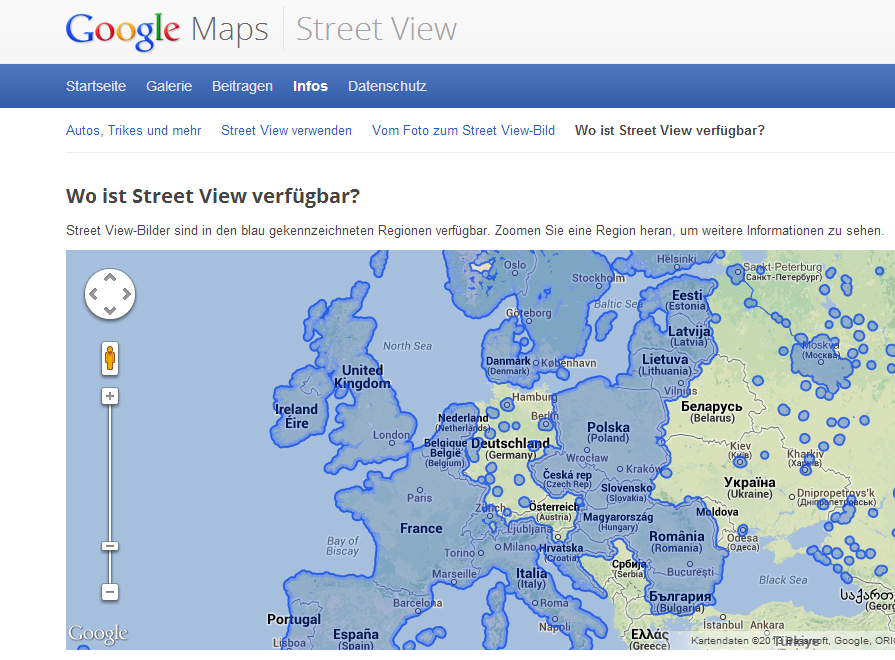 Streetview Verbreitung in Europa