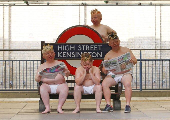 Warten auf das royale Baby an der Station in Kensington