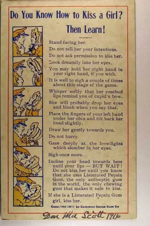 How to kiss a girl vintage ad