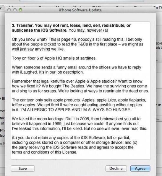 Netzfund: Was auf Seite 46 des iOS Software-Updates steht