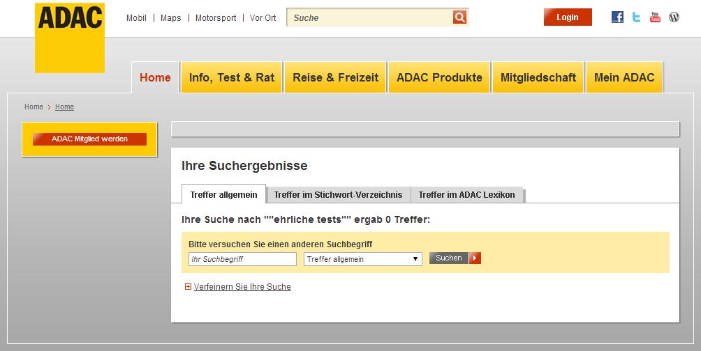 Netzfund: Ehrliche Tests auf ADAC.de nicht gefunden