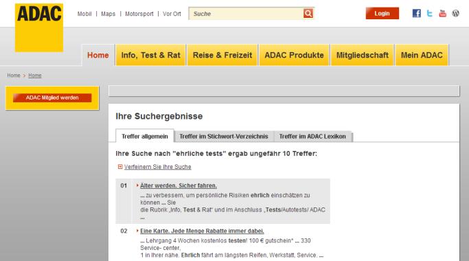 Netzfund: Plötzlich doch ehrliche Tests auf ADAC.de