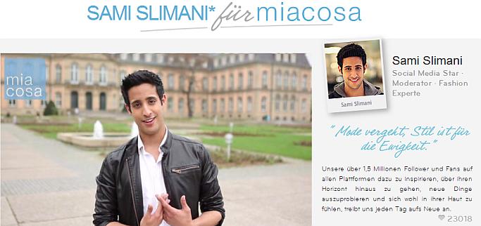 YouTuber Sami Slimani Miacosa ist Fashion-Experte für das Celebrity-Commerce-Portal Miacosa