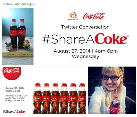 Die #ShareACoke-Kampagne auf Twitter.