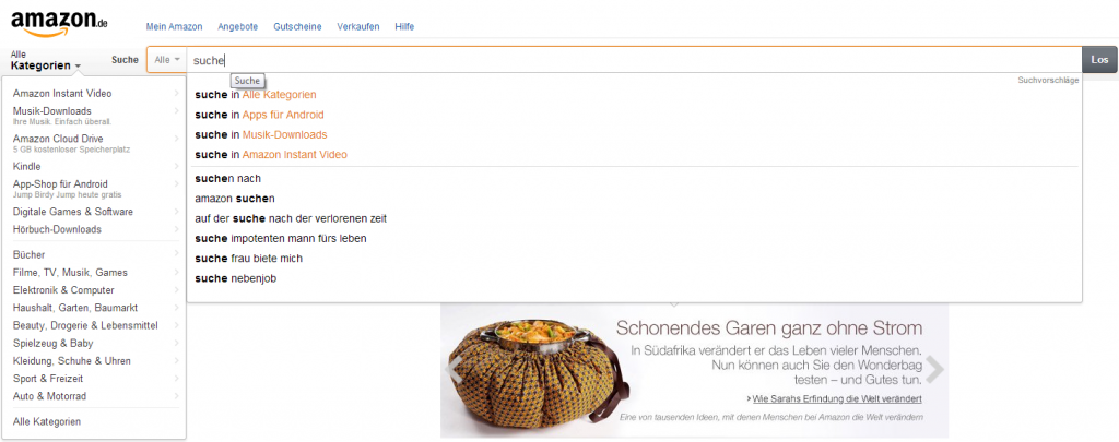 Amazon Suche - Screenshot