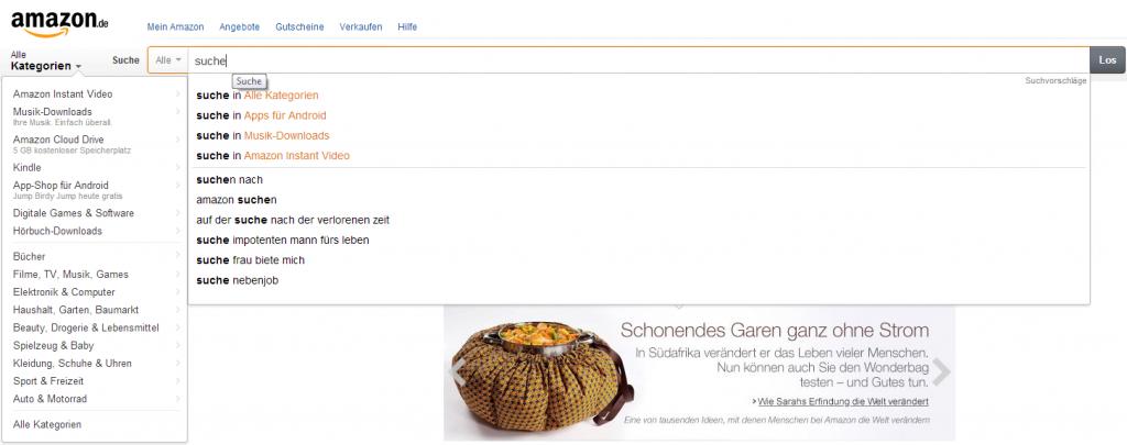 Amazon Suche - Screenshot