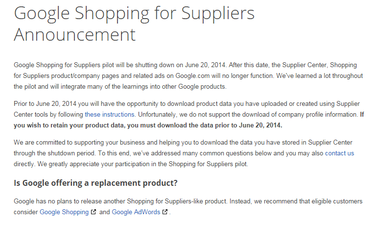 B2B eine zu harte Nuss? Google Shopping for Suppliers ist offline