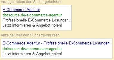 Search Engine Advertising Anzeige