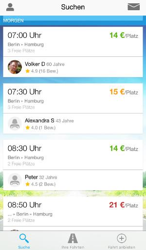 Bewertungen bei BlaBlaCar Screenshot: BlaBlaCar App
