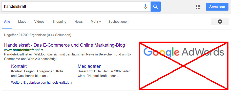 Screenshot: google - Bild: handelskraft