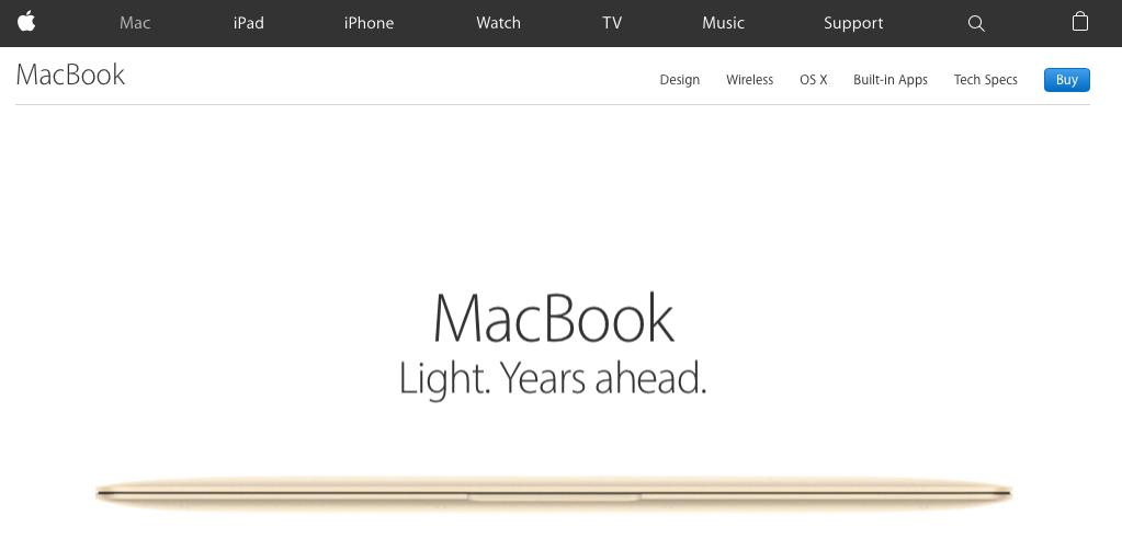 Screenshot: Apple - Website ohne Store-Reiter, kaufen geht überall