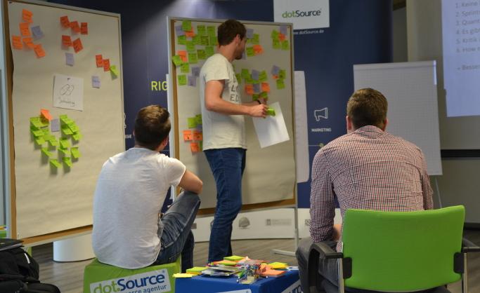 Design-Thinking-Workshop während des Themenblocks