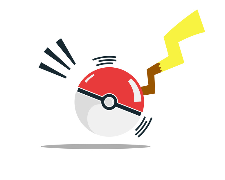 Pokemon caught with a pokeball illustration