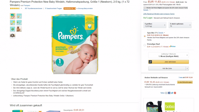 Produktdetailseite Amazon