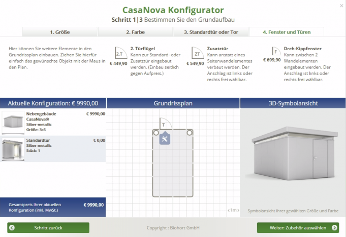 CasaNova-Konfigurator von Biohort