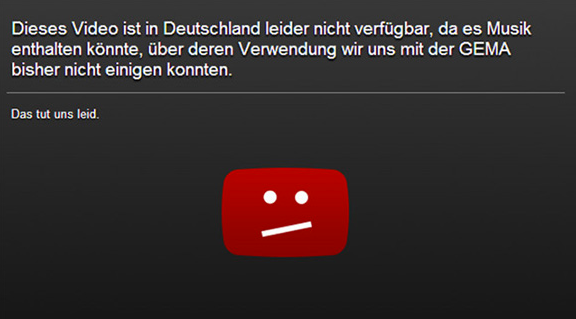 YouTube Sperrtafel