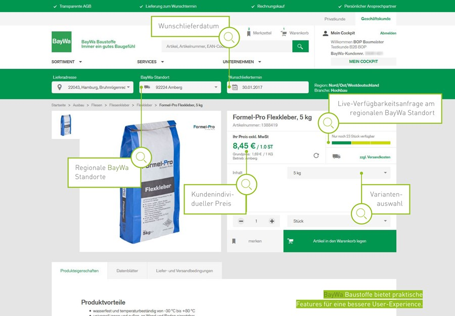 BayWa Baustoffe bietet praktische Features für eine bessere User-Experience