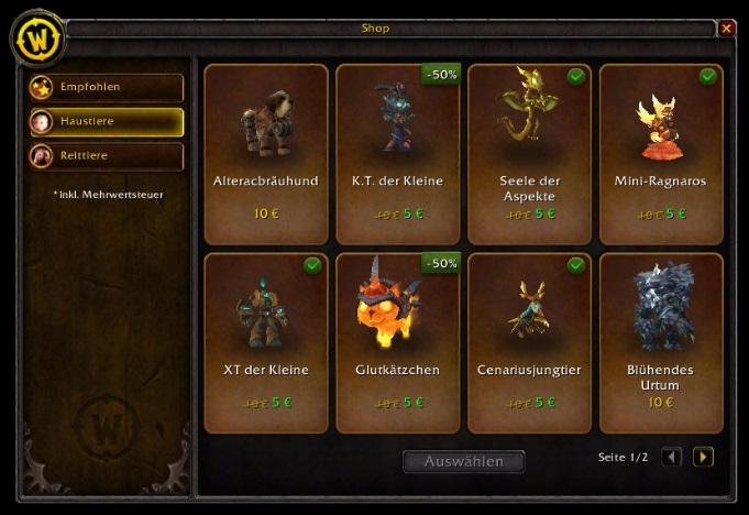 Der Ingame-Shop von World of Warcraft.
