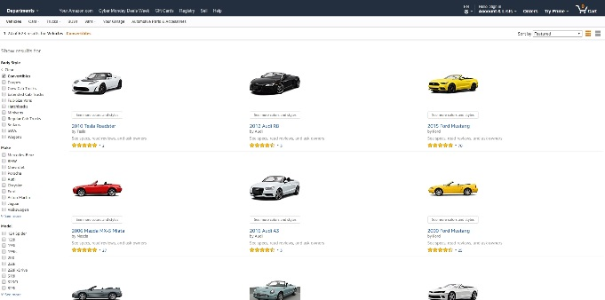 Amazon Vehicles - Auch Luxusautos gibt es bei Amazon