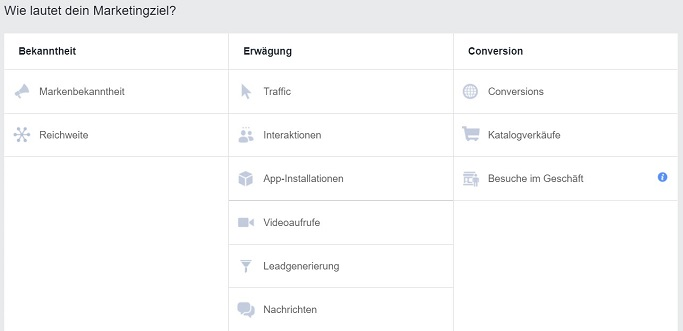 Marketing Ziel - Facebook Ads