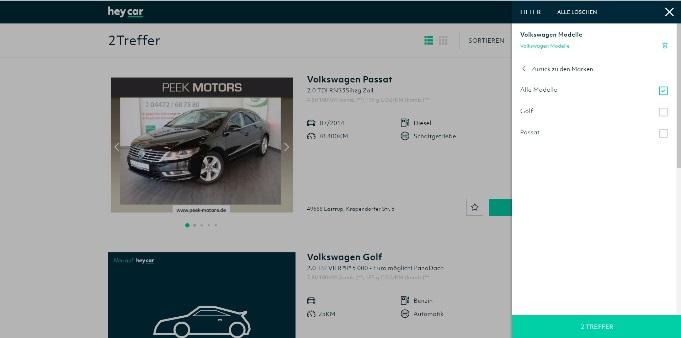 Hey.car - Neben VW werden hier auch andere Automarken angeboten