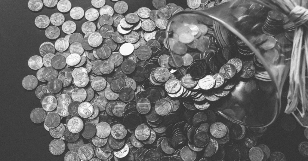 verschüttete münzen