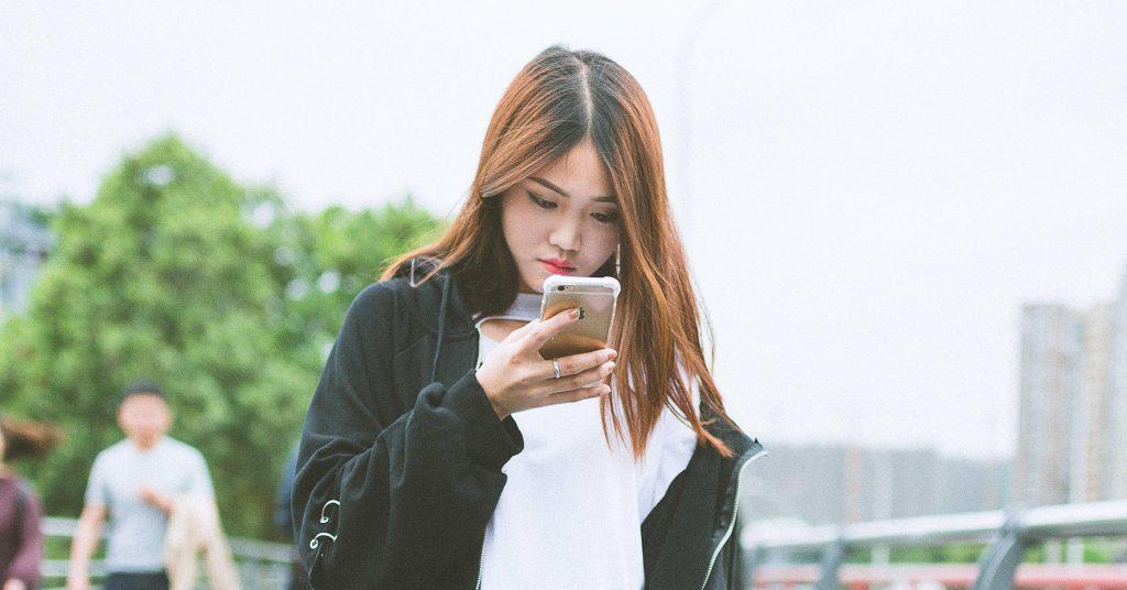 chinese, girl, smartphone