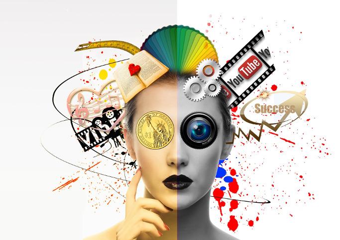 Frau überflutet mit Content, Auge als Videolinse, Farbklekse und mehr