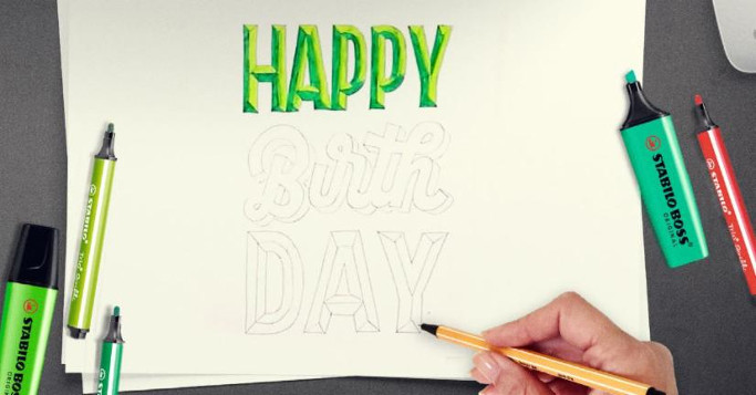 Happy Birthday Handlettering Tutorial Stabilo Marker