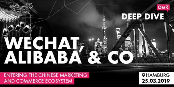 WeChat, Alibaba & Co auf Schwarz Weiß Skyline