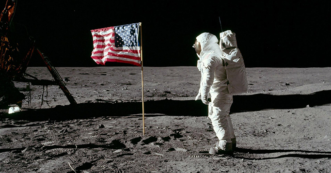 Mondlandung und Digitalisierung historisches Foto