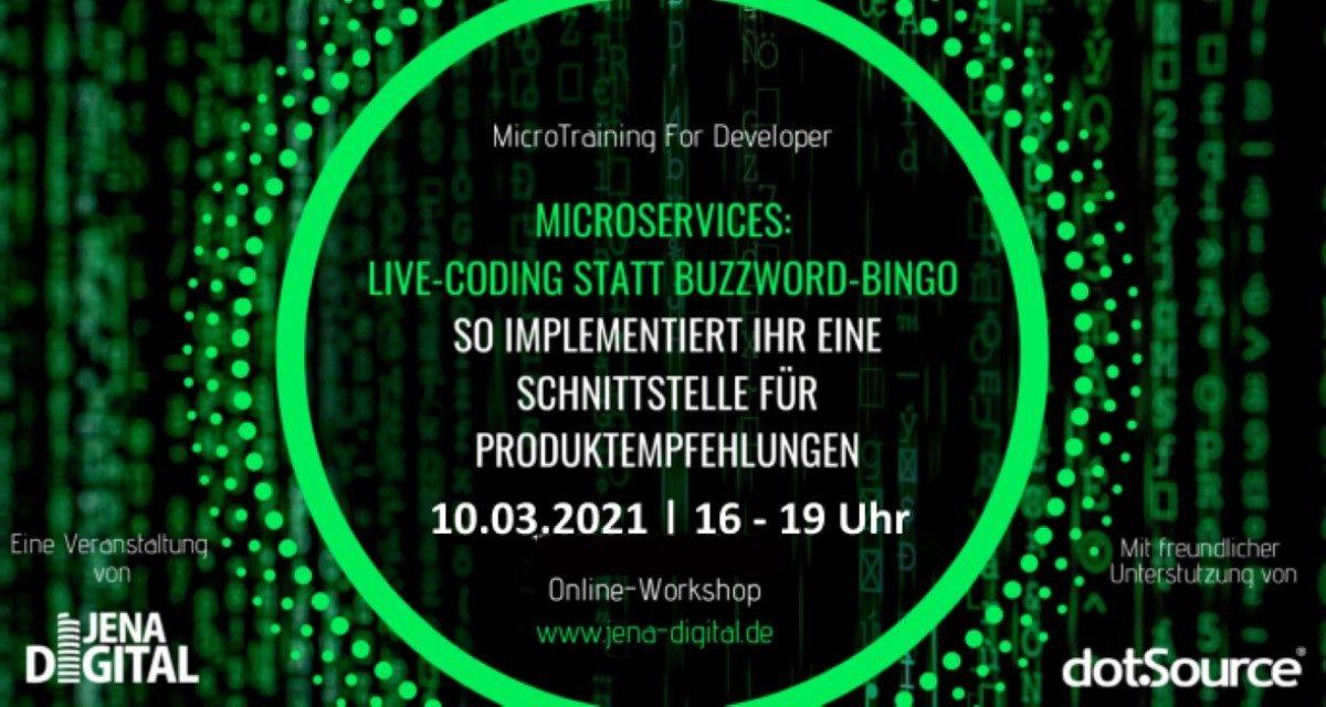 »Microservices: Live-Coding statt Buzzword-Bingo – So implementiert ihr eine Schnittstelle für Produktempfehlungen« [Micro:Training for Developer]